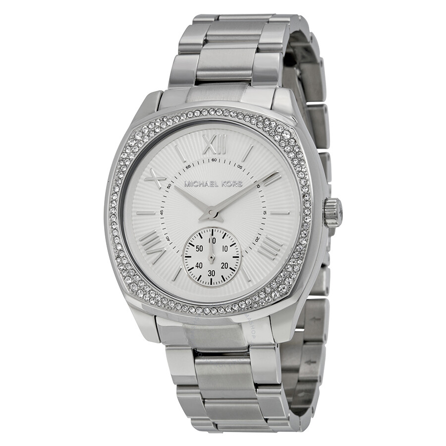 Michael kors bryn silver dial stainless steel ladies watch mk6133 bryn michael kors for Watches michael kors