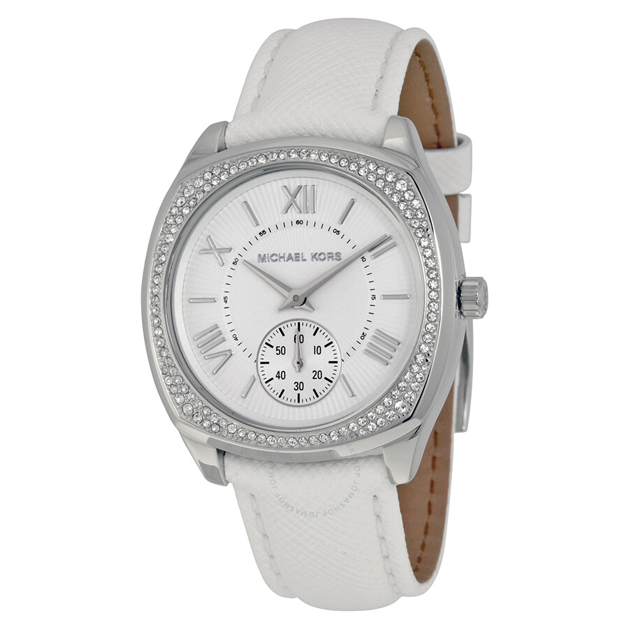 Michael Kors Bryn White Dial White Leather Ladies Watch ...