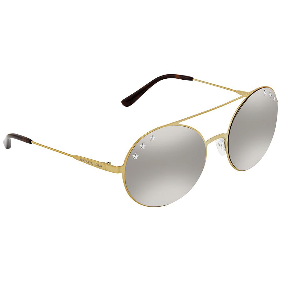 9a9aae8ea8c7 Michael Kors Cabo Silver Mirror Round Sunglasses MK1027 11936G 55 ...