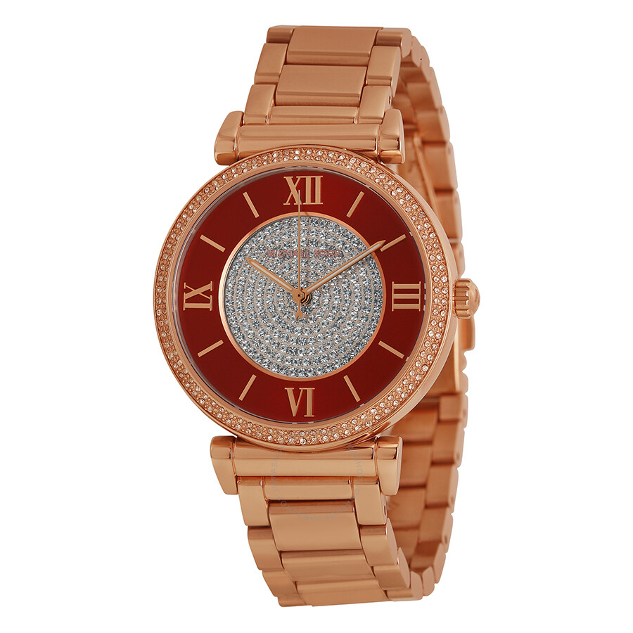 8c6957dc4cf4 Michael Kors Caitlin Red Crystal-set Dial Rose Gold-plated Ladies Watch  MK3377 ...