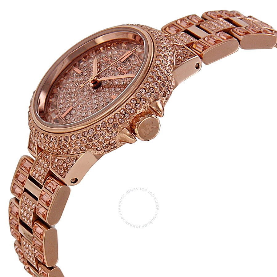 ae50e32640aaf ... Michael Kors Camile Rose Crystal Pave Rose Gold-tone Ladies Watch MK5948  ...