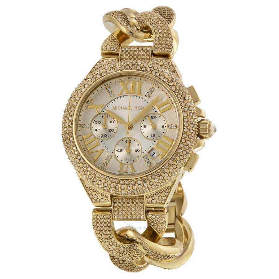 9f7c2e1e5b14 Michael Kors Camille Chronograph Champagne Dial Gold-tone Glitz Watch  MK3248 ...
