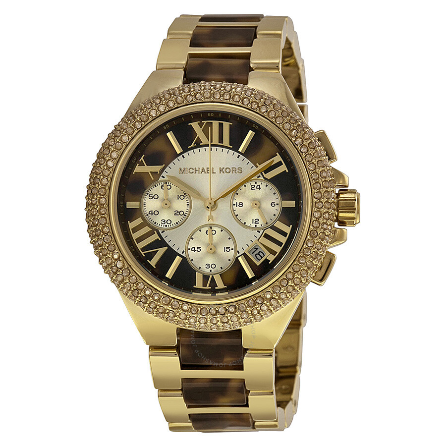 1710e5eed352 Michael Kors Camille Chronograph Tortoise Shell Dial Two-tone Ladies Watch  MK5901 ...