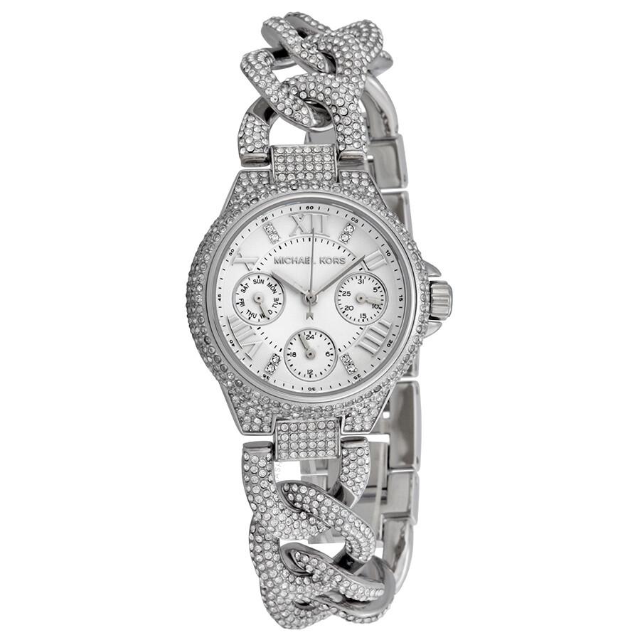 af9f869eb40 Michael Kors Camille Multi-Function Silver Dial Stainless Steel Crystal-set Ladies  Watch MK3309 ...