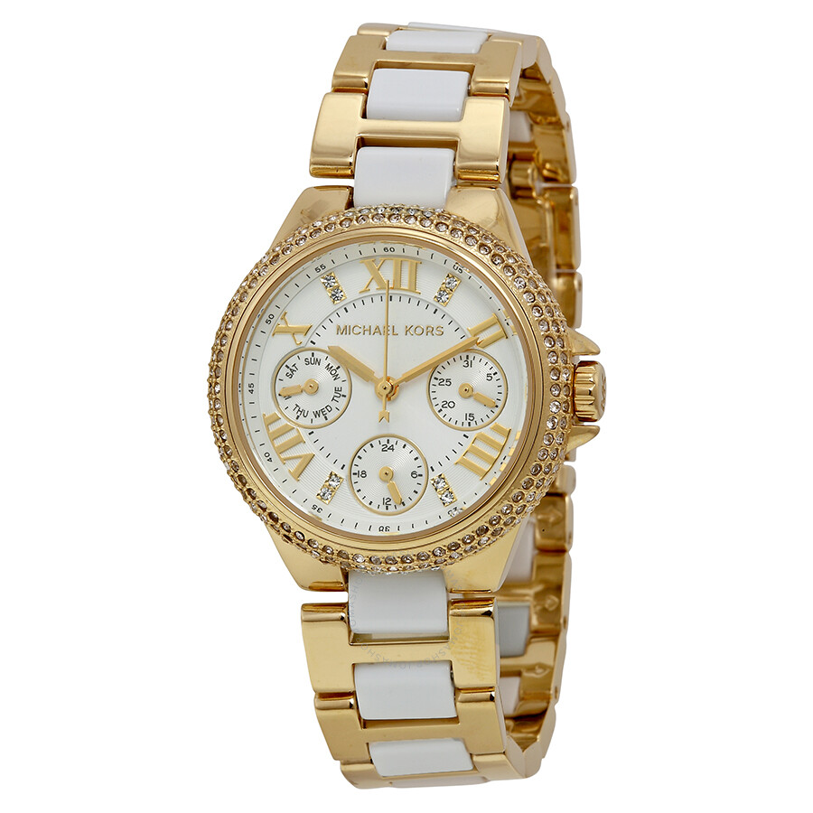 12395b25b6f Michael Kors Camille Multi-Function White Dial Gold-tone with White Acrylic  Ladies Watch ...