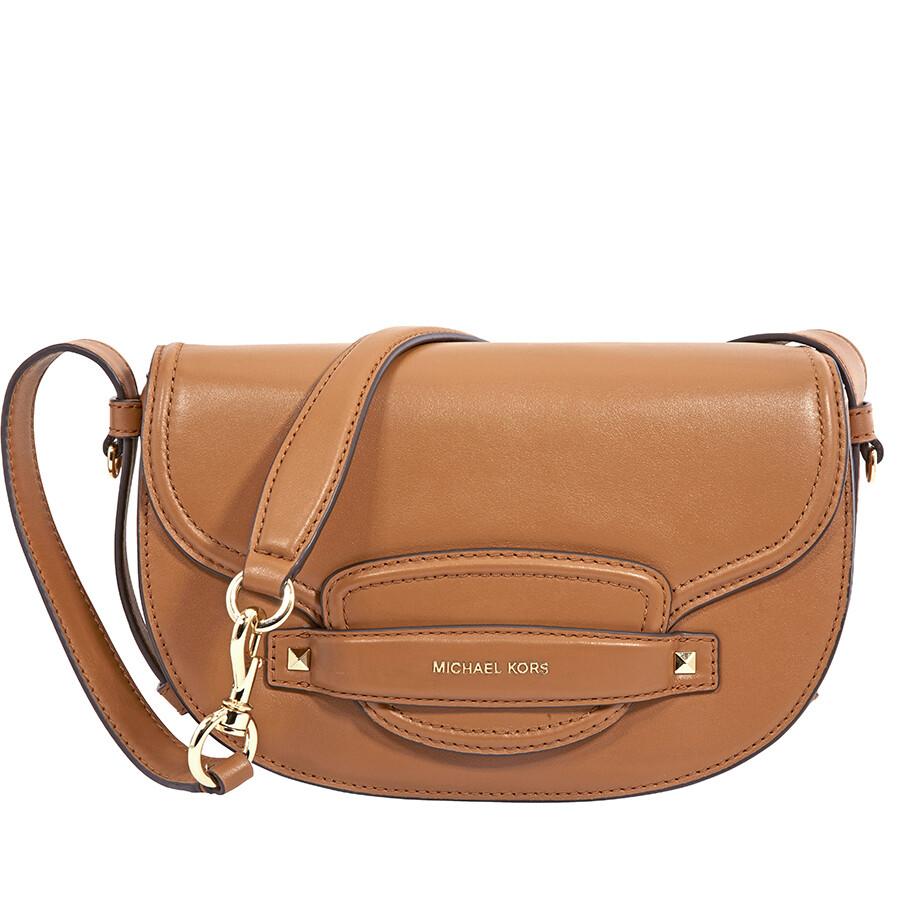 09b25eb4bc3e Michael Kors Cary Medium Leather Saddle Bag- Acorn Item No. 30F8G0CM2L-203