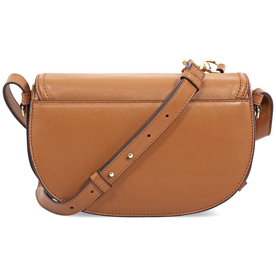 f05496844ecf Michael Kors Cary Medium Leather Saddle Bag- Acorn - Michael Kors ...