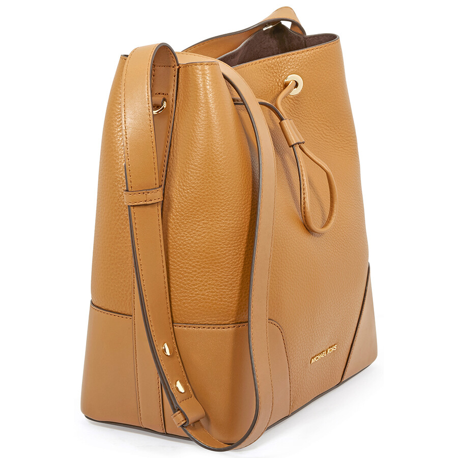 michael kors cary medium pebbled leather bucket bag acorn rh jomashop com
