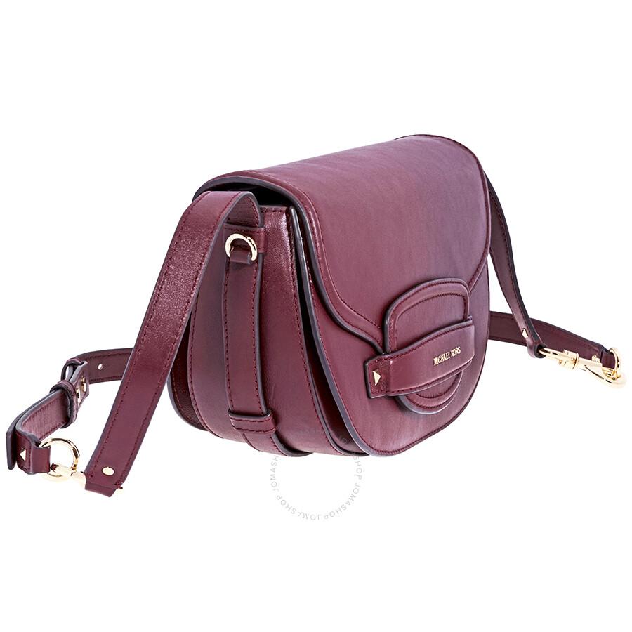 3888c5f0ba65 Michael Kors Cary Medium Saddle Bag- Oxblood - Michael Kors Handbags ...