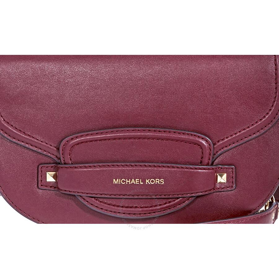 6721de5c841a Michael Kors Cary Medium Saddle Bag- Oxblood - Michael Kors Handbags ...