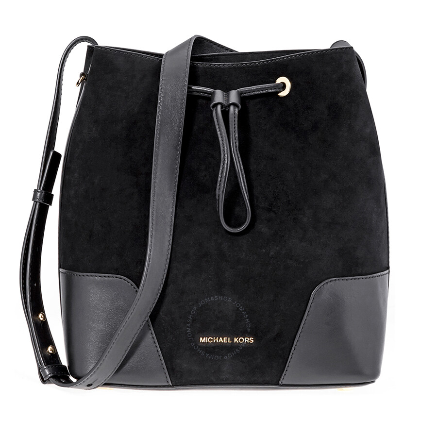 a5b393547007f4 Michael Kors Cary Medium Suede and Leather Bucket Bag - Black Item No.  30F8G0CM2S-001