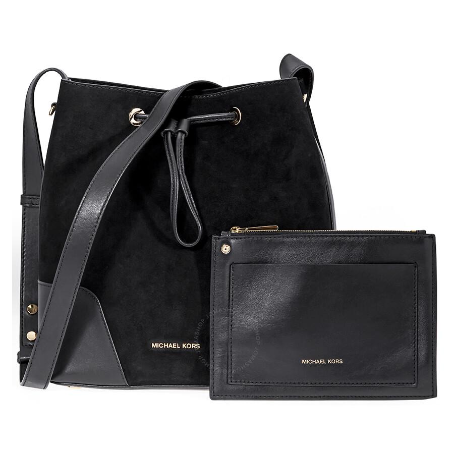 5f2ea2adbd94 Michael Kors Cary Medium Suede and Leather Bucket Bag - Black ...