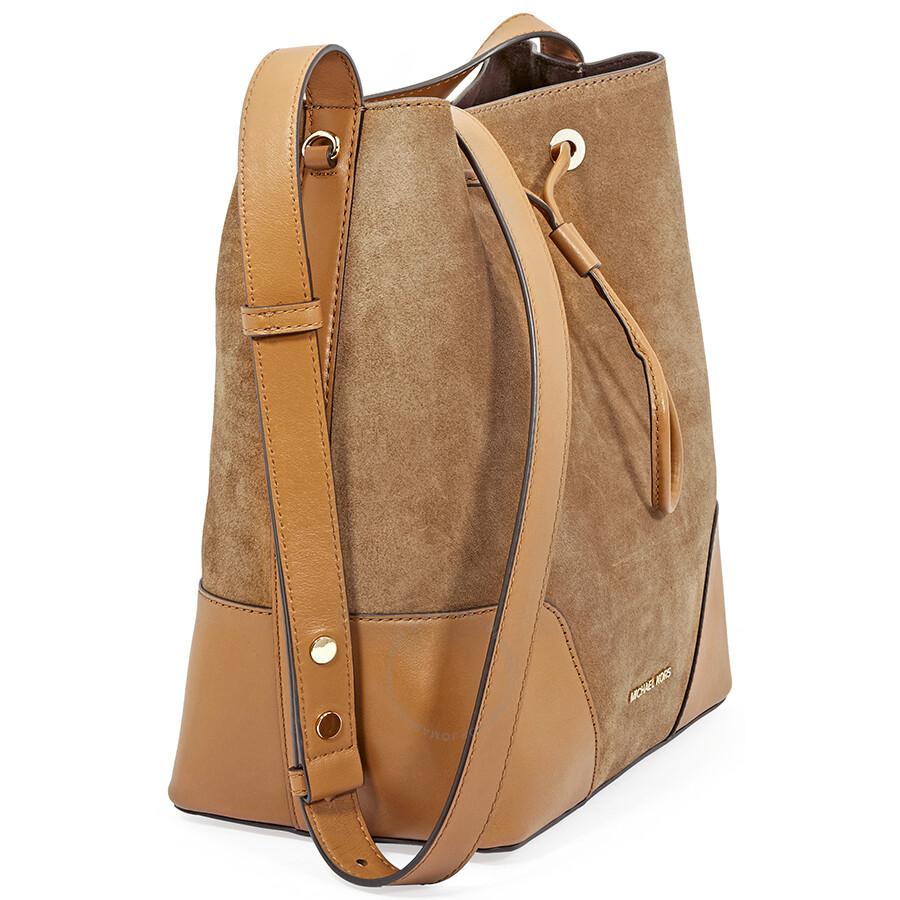 9b70e34bdc207f Michael Kors Cary Medium Suede and Leather Bucket Bag - Caramel ...