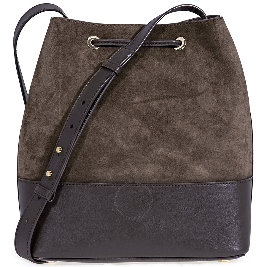 Michael Kors Cary Medium Suede And Leather Bucket Bag Coffee