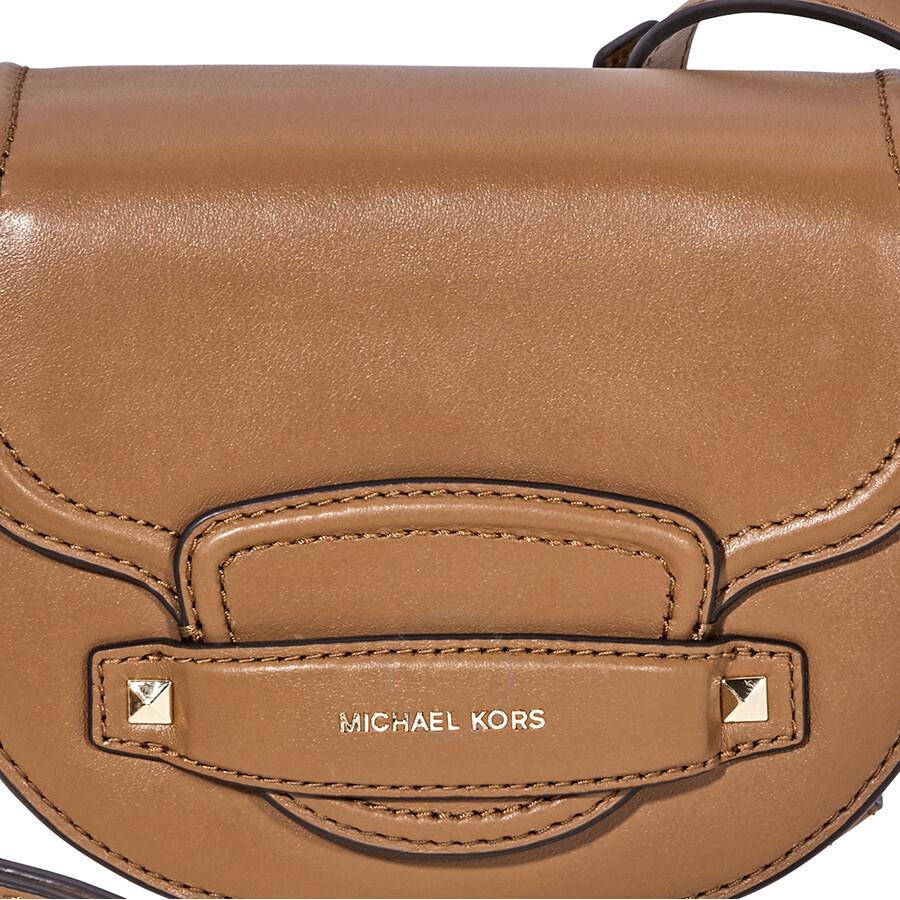 f4f5e4fa7f7a Michael Kors Cary Small Leather Saddle Bag- Acorn - Michael Kors ...