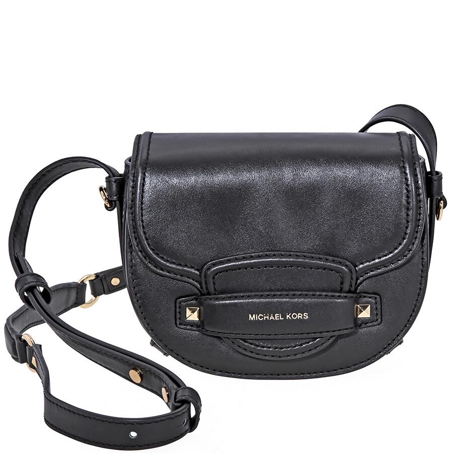 fd478f90c40fda Michael Kors Cary Small Leather Saddle Bag- Black Item No. 32F8G0CC1L-001