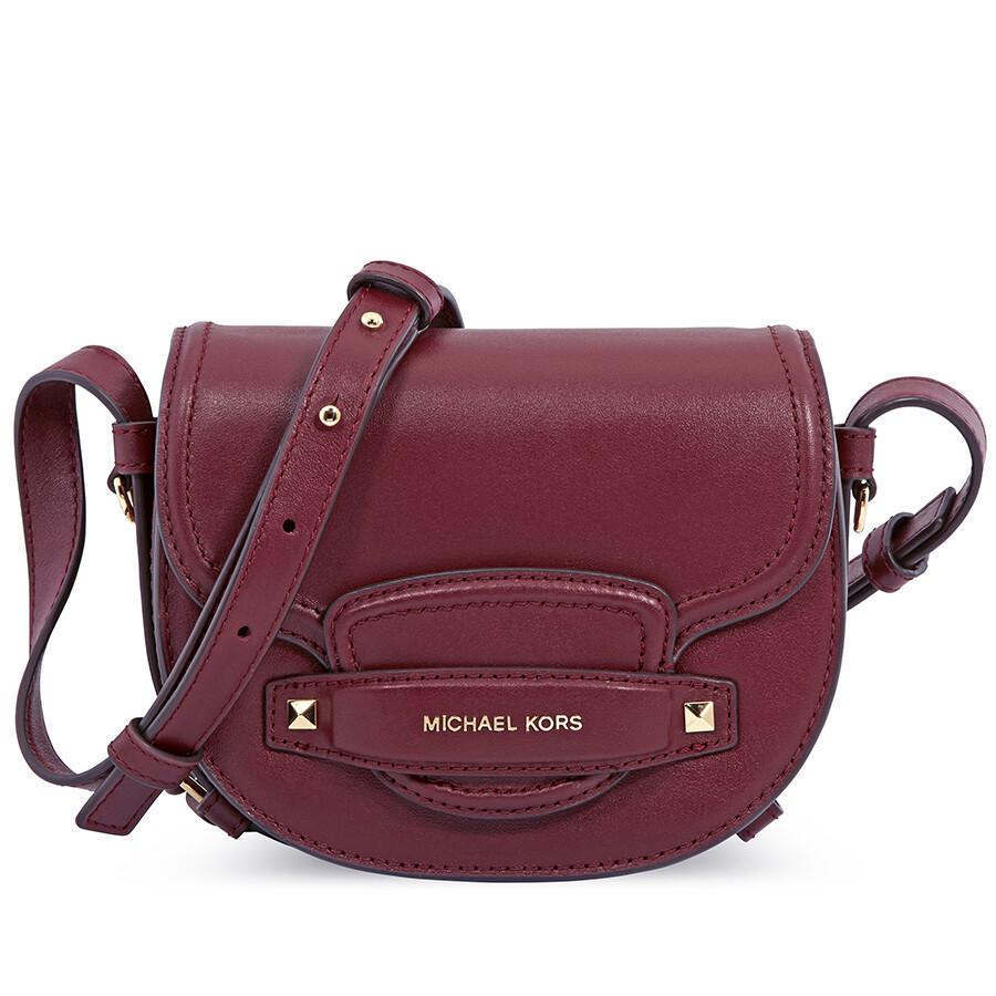 0537e85ac462 Michael Kors Cary Small Leather Saddle Bag- Oxblood Item No. 32F8G0CC1L-610
