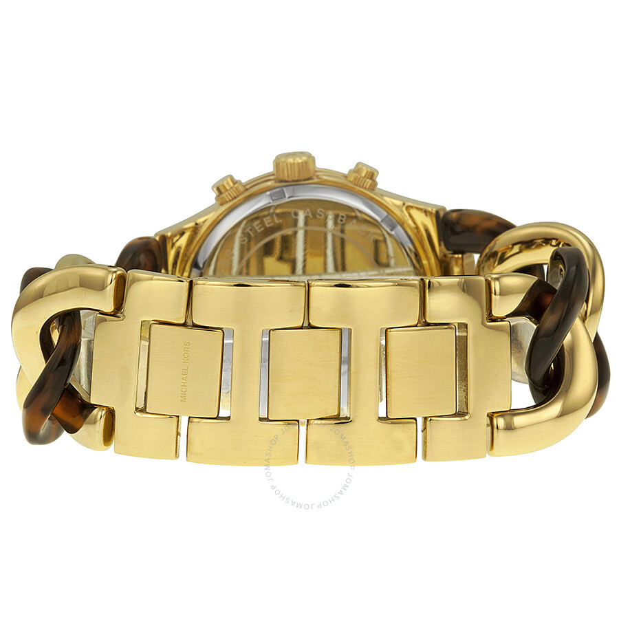 522bc50c4600 ... Michael Kors Chain Link Acrylic Gold-tone Ladies Watch MK4222 ...
