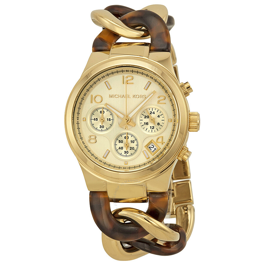 f9abeb0c5353 Michael Kors Chain Link Acrylic Gold-tone Ladies Watch MK4222 ...