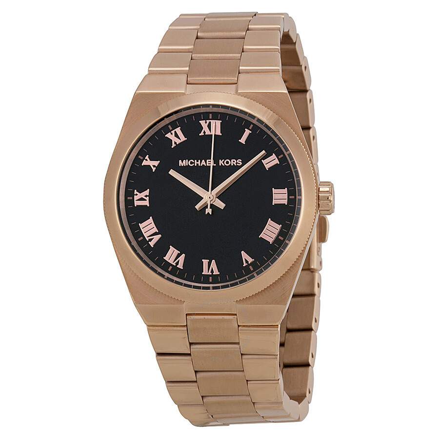 Michael Kors Channing Black Dial Rose Gold-tone Ladies ...