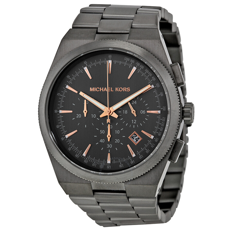 Michael kors channing chronograph black dial gunmetal ion plated men 39 s watch mk8403 channing for Watches michael kors