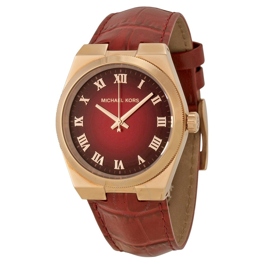 8a200e087609 Michael Kors Channing Red Dial Red Leather Unisex Watch MK2357 ...
