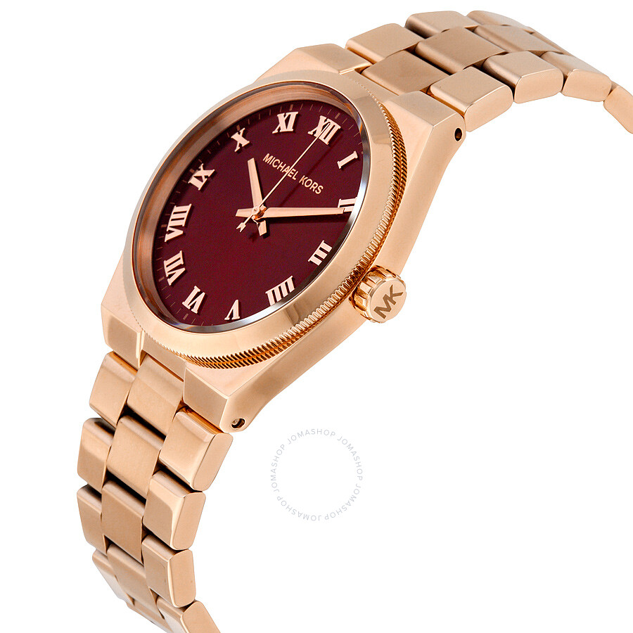 5aec03c8468a Michael Kors Channing Red Dial Rose Gold Steel Ladies Watch MK6090 ...