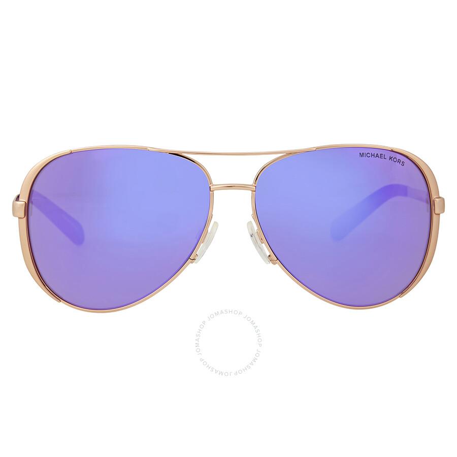 2190e4817 Michael Kors Chelsea Aviator Sunglasses - Rose Gold/Purple Mirror Item No.  0MK5004-10034V-59