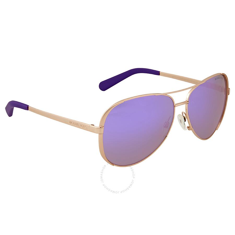 12f140b2e46c ... Michael Kors Chelsea Aviator Sunglasses - Rose Gold/Purple Mirror ...