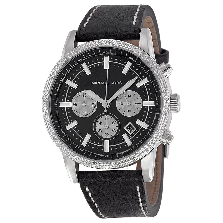 michael kors chronograph black black leather s