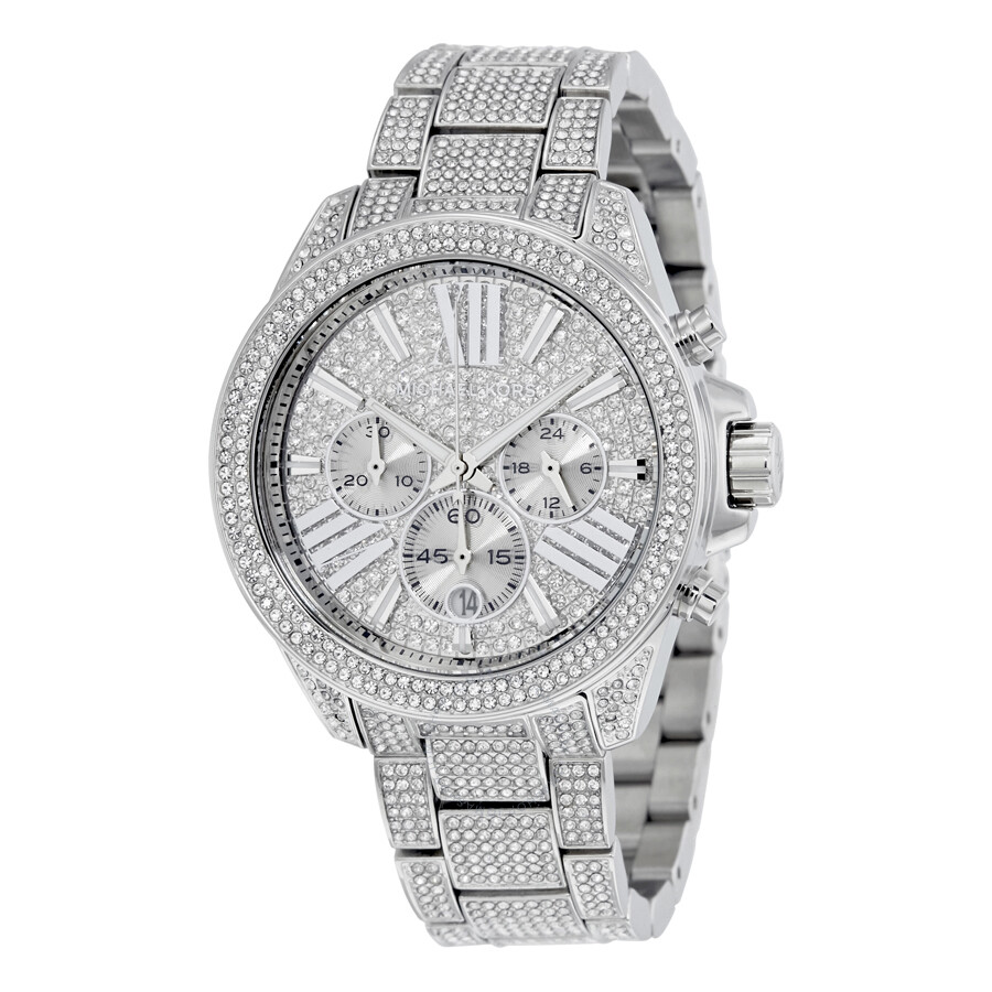 Michael kors chronograph crystal pave dial ladies watch mk6317 wren michael kors watches for Crystal watches