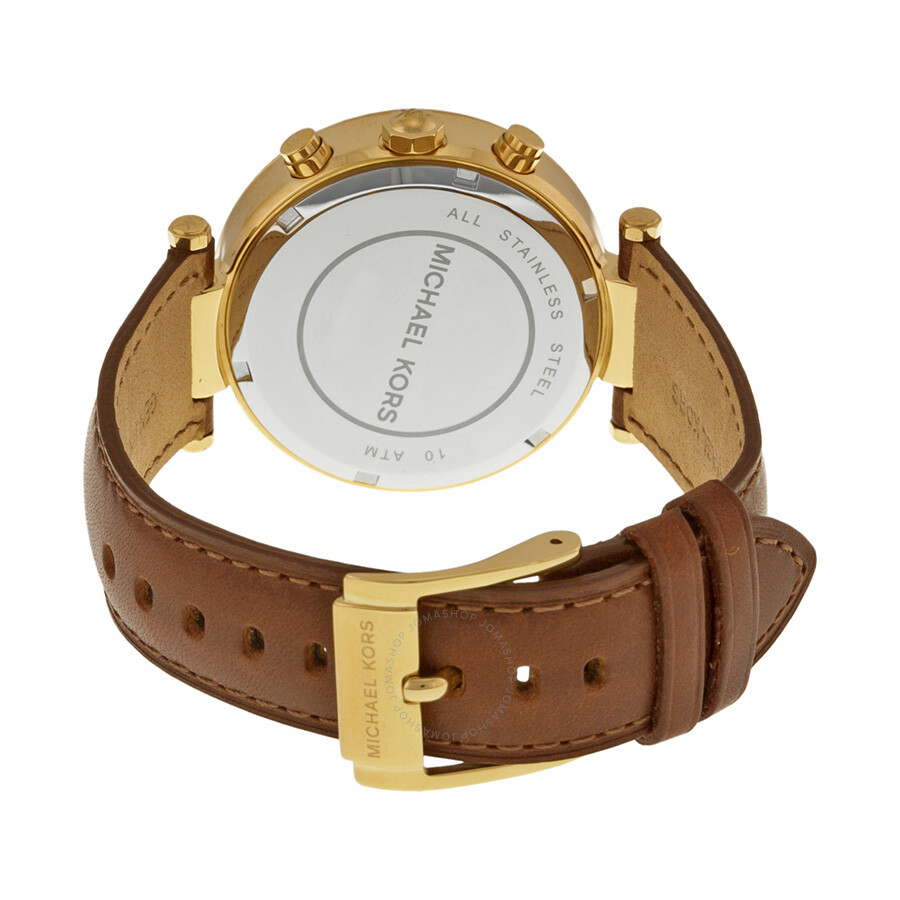 f0f2eceb9 ... Michael Kors Chronograph Gold Dial Brown Leather Ladies Watch MK2249 ...