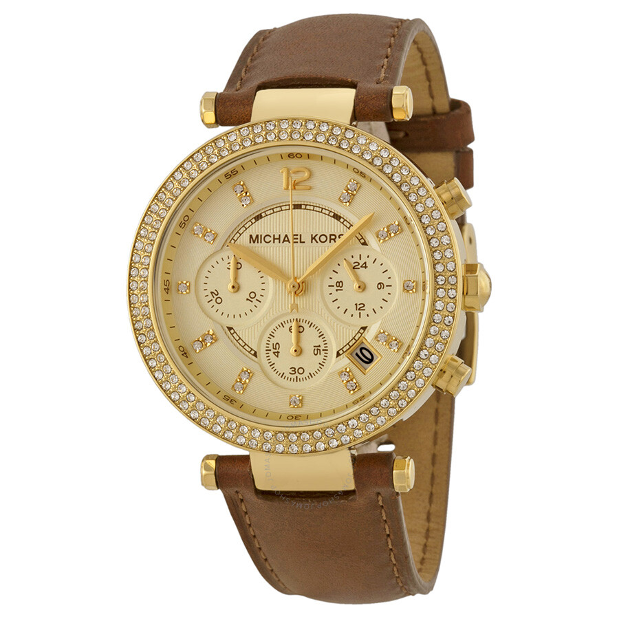 Michael Kors Chronograph Gold Dial Brown Leather Ladies ...