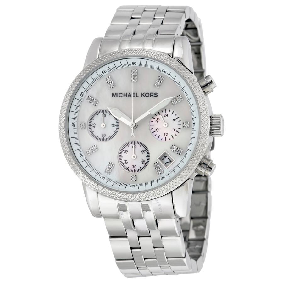 26e1b9c595ab Michael Kors Chronograph Mother of Pearl Dial Ladies Watch MK5020 ...