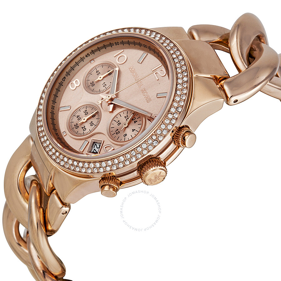 4e5b9876c9d2d ... Michael Kors Chronograph Rose Dial Rose Gold Ion-plated Ladies Watch  MK3247 ...