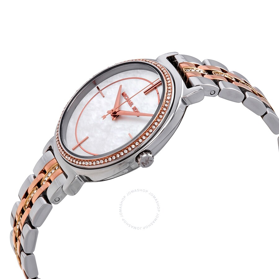 b55dfafea ... Michael Kors Cinthia Crystal Mother of Pearl Dial Ladies Watch MK3927  ...