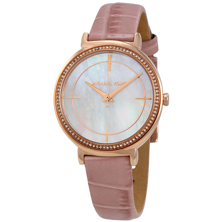 Michael kors cinthia mother of pearl dial ladies leather watch mk2663 michael kors watches for Watches michael kors