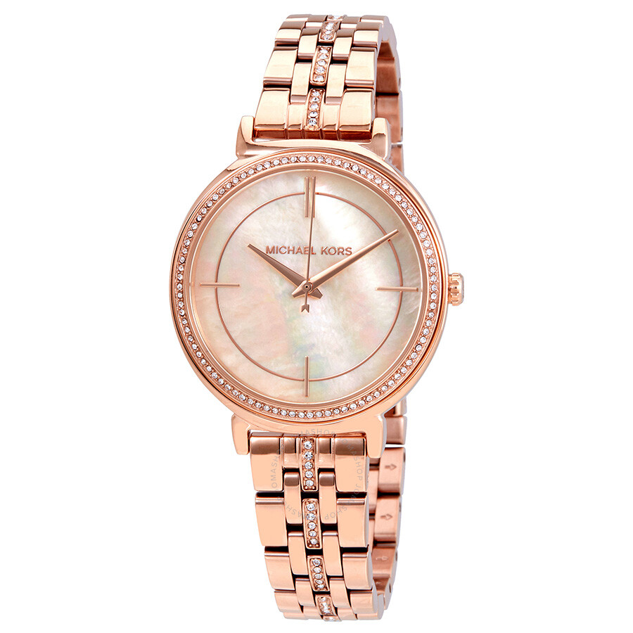 261970c01 Michael Kors Cinthia Mother of Pearl Dial Ladies Watch MK3643 ...