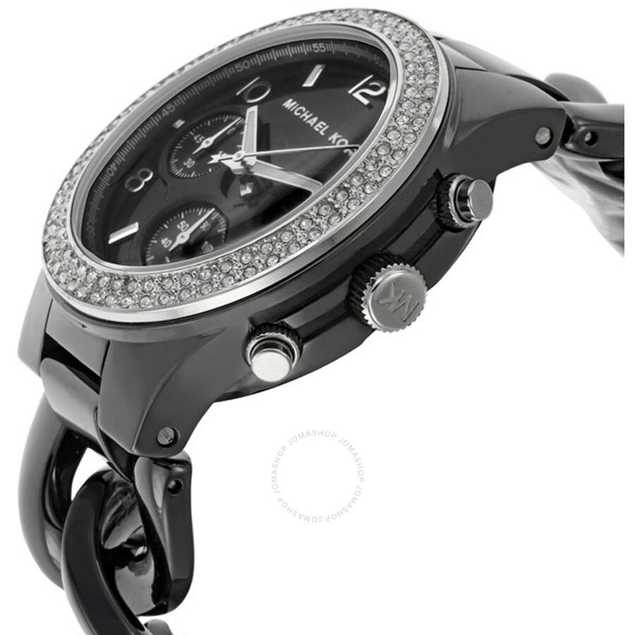 Michael Kors Classic Chronograph Black Ceramic Ladies ... Michael Kors Watches Black Ceramic