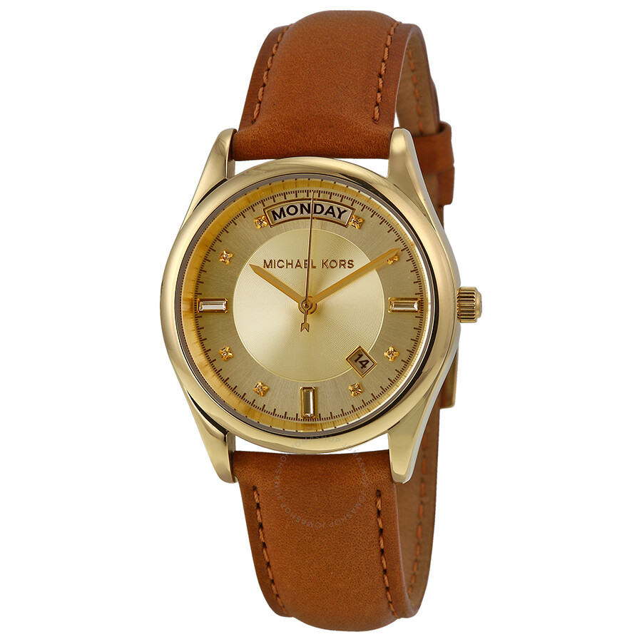Michael Kors Colette Champagne Dial Brown Leather Ladies ...