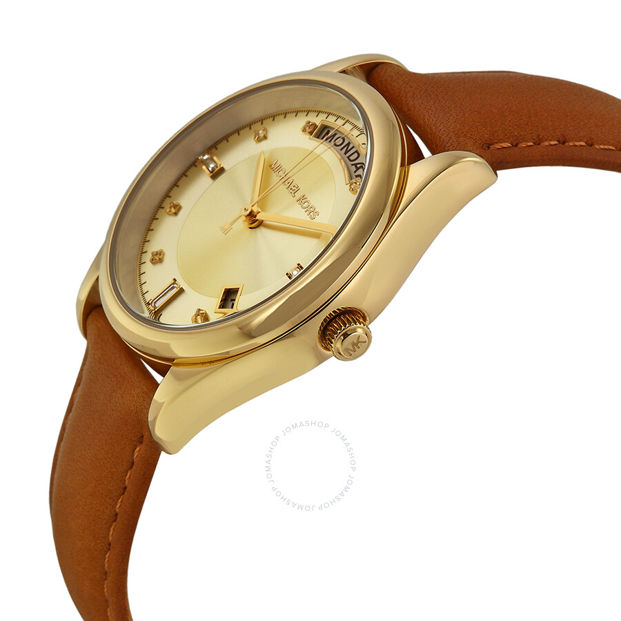 8d5005274ac ... Michael Kors Colette Champagne Dial Brown Leather Ladies Watch MK2374  ...