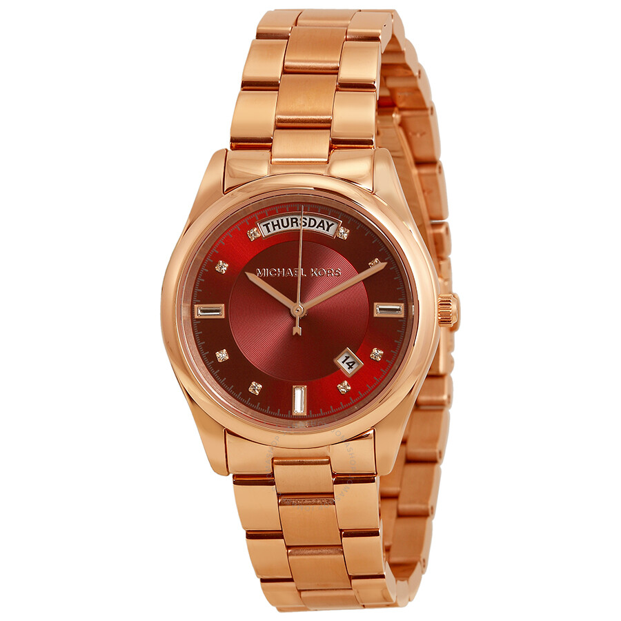 michael kors colette red dial rose gold tone ladies watch mk6103 colette michael kors. Black Bedroom Furniture Sets. Home Design Ideas