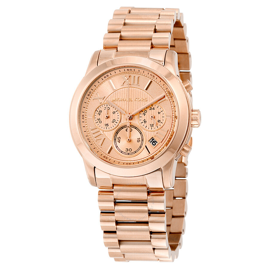Michael kors cooper chronograph rose dial rose gold tone ladies watch mk6275 cooper michael for Watches michael kors