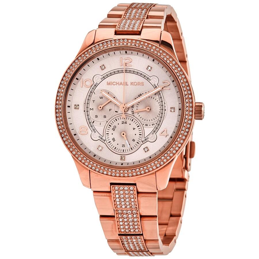 Michael Kors Cooper Quartz Crystal Rose Gold Dial Ladies Watch MK6614