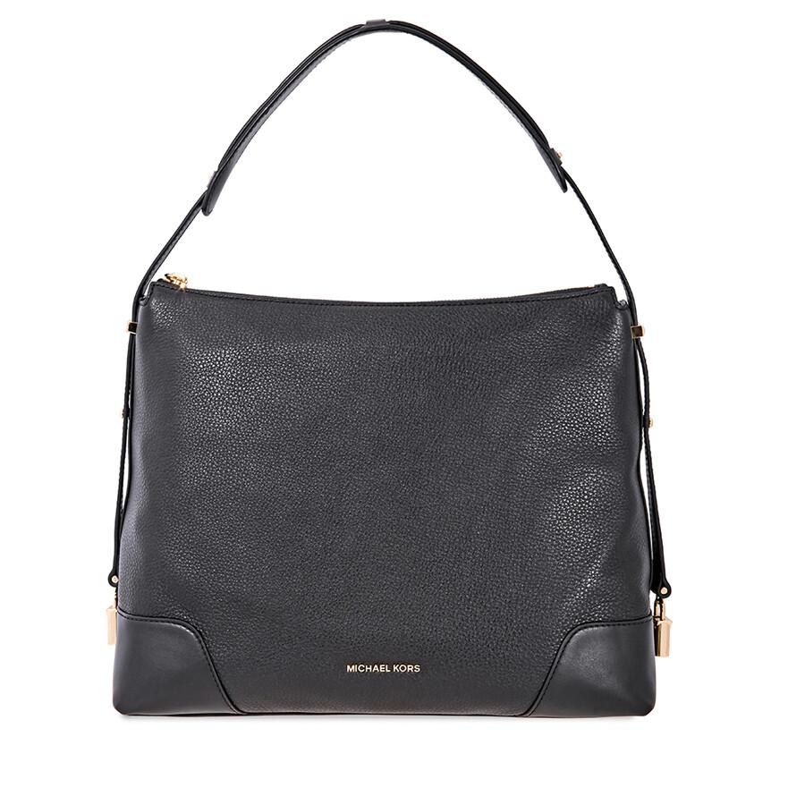 c9a0fb1ef76f Michael Kors Crosby Large Pebbled Leather Shoulder Bag - Black Item No.  30H8GCBL3L-001