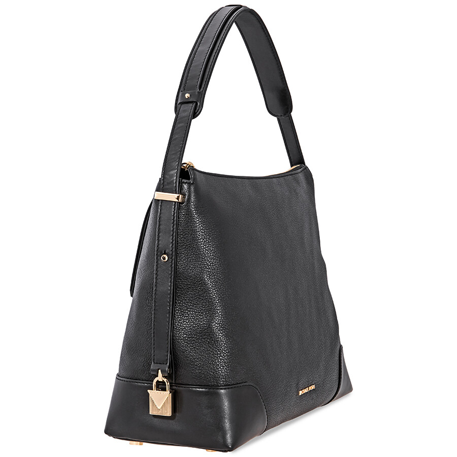 9dc165baab19f3 Michael Kors Crosby Large Pebbled Leather Shoulder Bag - Black ...