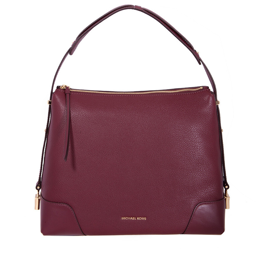 84a4a5ccd386 Michael Kors Crosby Large Pebbled Leather Shoulder Bag - Oxblood ...