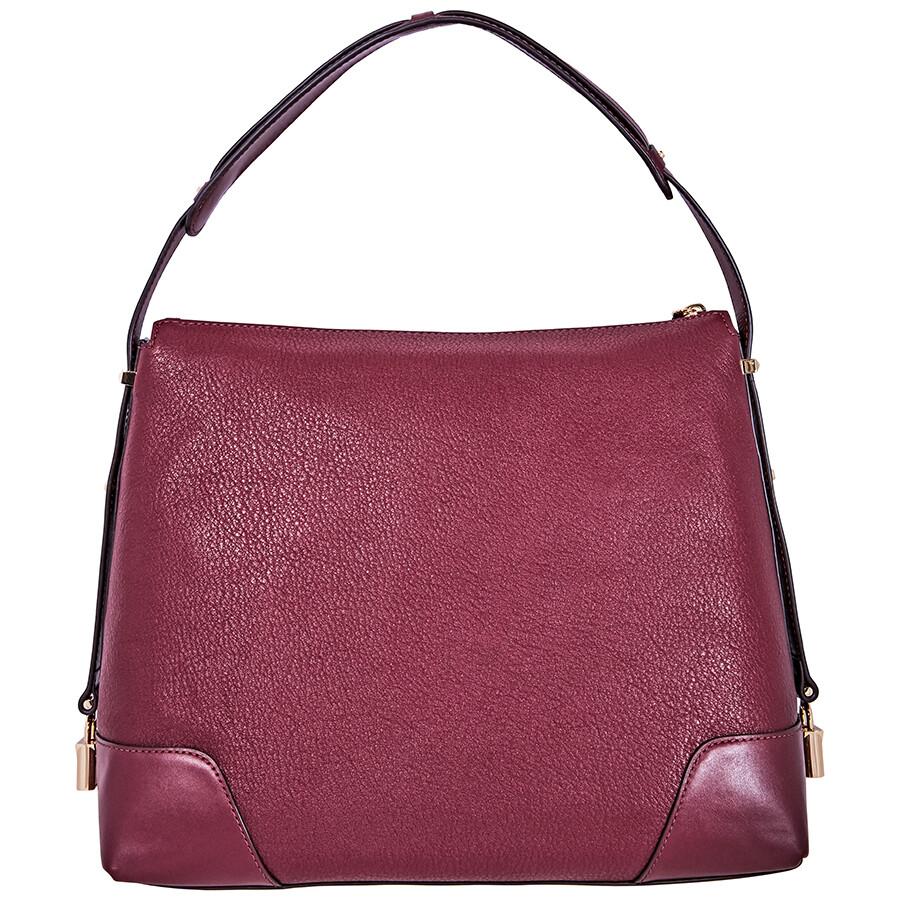 a289a5ed6b1d Michael Kors Crosby Large Pebbled Leather Shoulder Bag - Oxblood ...