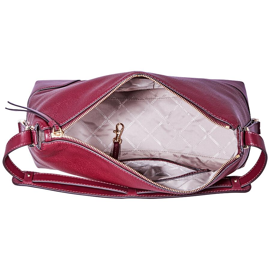 b4f087e2d250ed Michael Kors Crosby Large Pebbled Leather Shoulder Bag - Oxblood ...