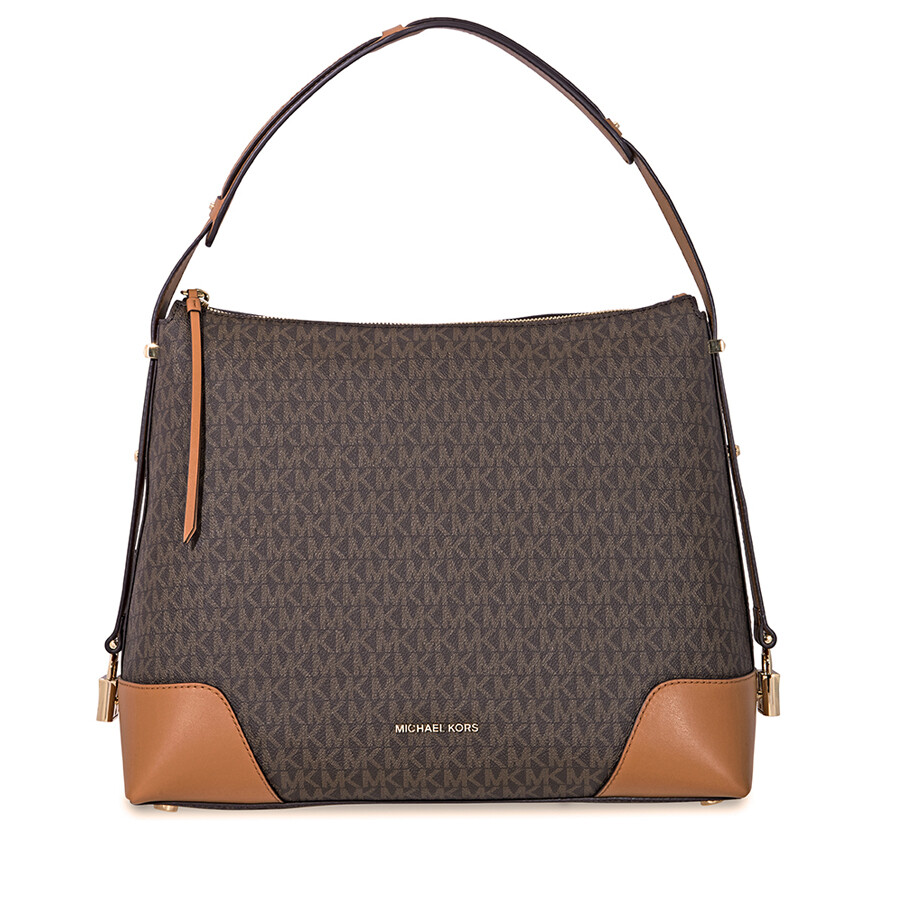 Michael Kors Crosby Large Signature Logo Print Shoulder Bag - Brown   Acorn  Item No. 30H8GCBL3B-252 ca4ee9d6b0911